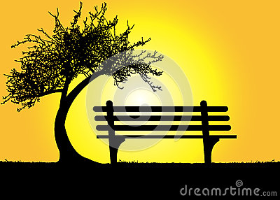 lonely-bench-under-tree-mountain-sunset-illustration-44952041